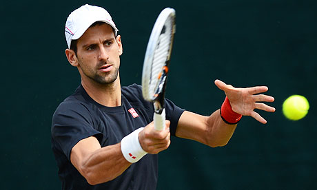 Serbia's Novak Djokovic plays a forehand
